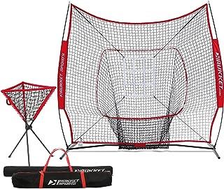 Rukket Baseball/Softball 7x7 Net, Pitching & Batting Trainer w/Ball Caddy | Practice Partner with Strike Zone Target