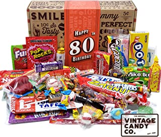 VINTAGE CANDY CO. 80TH BIRTHDAY RETRO CANDY GIFT BOX - 1939 Decade Nostalgic Childhood Candies - Fun Gag Gift Basket for Milestone EIGHTIETH Birthday - PERFECT For Man Or Woman Turning 80 Years Old