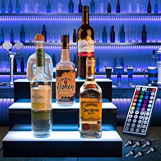 Savvy Life Selects LED Liquor Shelf – 3 Tier Bar Bottle Display – Colorful Light Bar Shelf – LED Colors and Light Effects – Lighted Liquor Shelves with Plug – Remote Control and Spouts Included