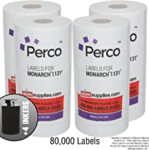 White Pricing Labels for Monarch 1131 Price Gun – 4 Sleeves, 32 Rolls Value Pack - 80,000 Pricemarking Labels – with Ink Rolls Included