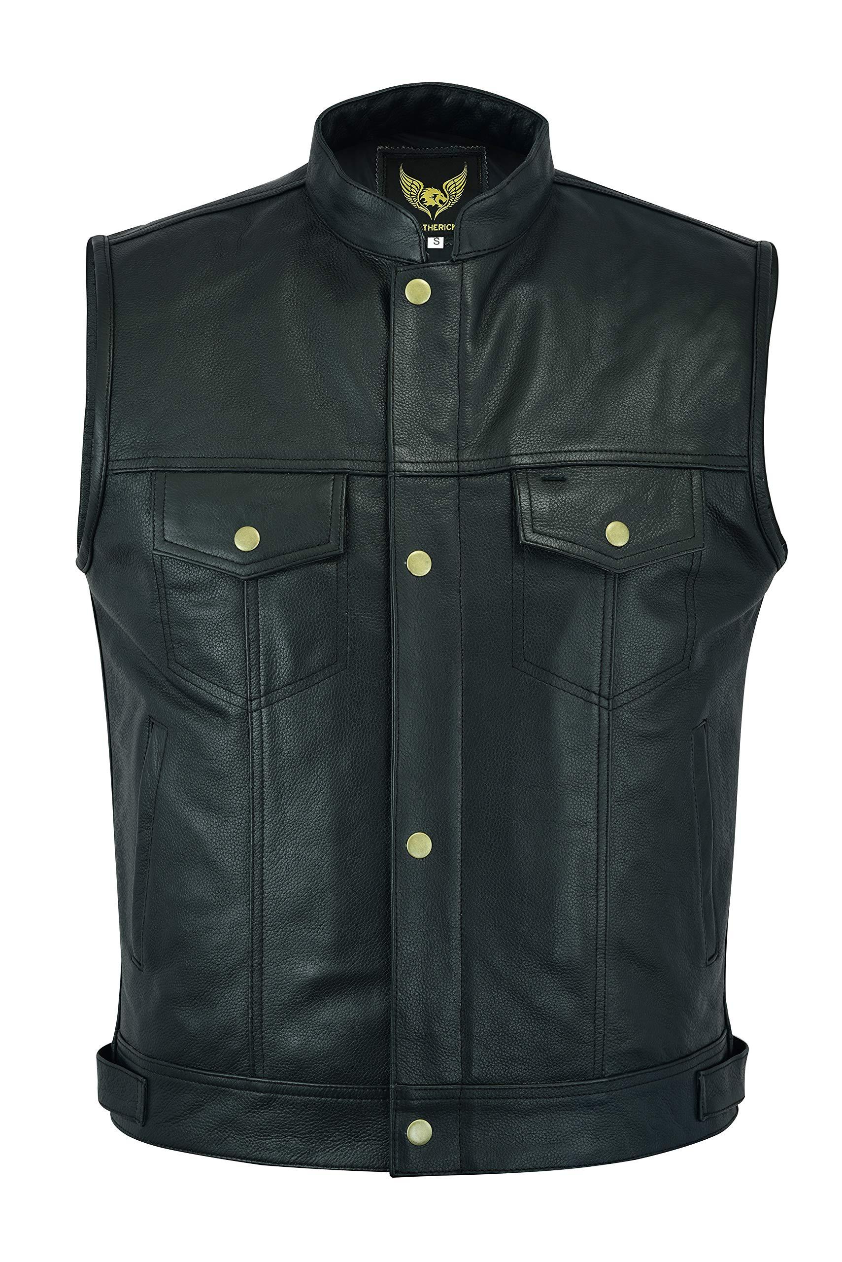 SOA Brass Button Premium Leather Waistcoat Cut Off Style Biker Leather Vest M - EUR50