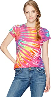 Liquid Blue Women's Rainbow Nebula Tie Dye Long Length Juniors Graphic Tee