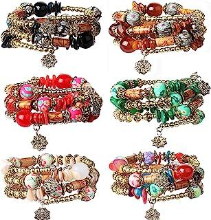 فيبو ستيل 6 مجموعات البوهيمي قابل للتكديس أساور الخرزة للنساء تمتد متعدد الطبقات سوار مجموعة مجوهرات متعددة الألوان