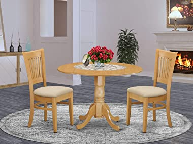 East West Furniture DLVA3-OAK-C 3-Pc dining room table set Oak finish- Two 9-inch Drops Leave and Pedestal Legs dining table