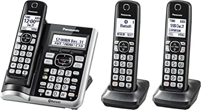 PANASONIC Link2Cell Bluetooth Cordless Phone System with Voice Assistant, Call Blocking and Answering Machine. DECT 6.0 Expandable Cordless System - 3 Handsets - KX-TGF573S (Silver)