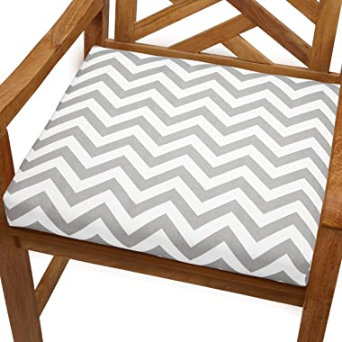 Mozaic AMCS102956 Indoor or Outdoor Square Chair Seat Cushion, 20 x 20 x 2.5, Grey & White Cheveron