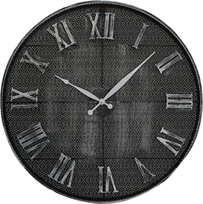 WHW Whole House Worlds Lattice Metal Wall Clock, Rustic Grey and Distressed Black Iron, Silver Hands, Roman Numerals, Quartz Movement, 22.5 Inches Diameter