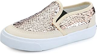 VECJUNIA Boy's Girl's Sequins Low Top Casual Loafers Sneakers(Toddler/Little Kid/Big Kid) (9.5 M US Toddler, Gold)