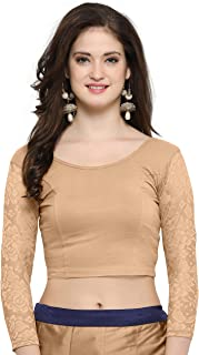 Janasya Indian Readymade Cotton Lycra Saree Blouse for Women