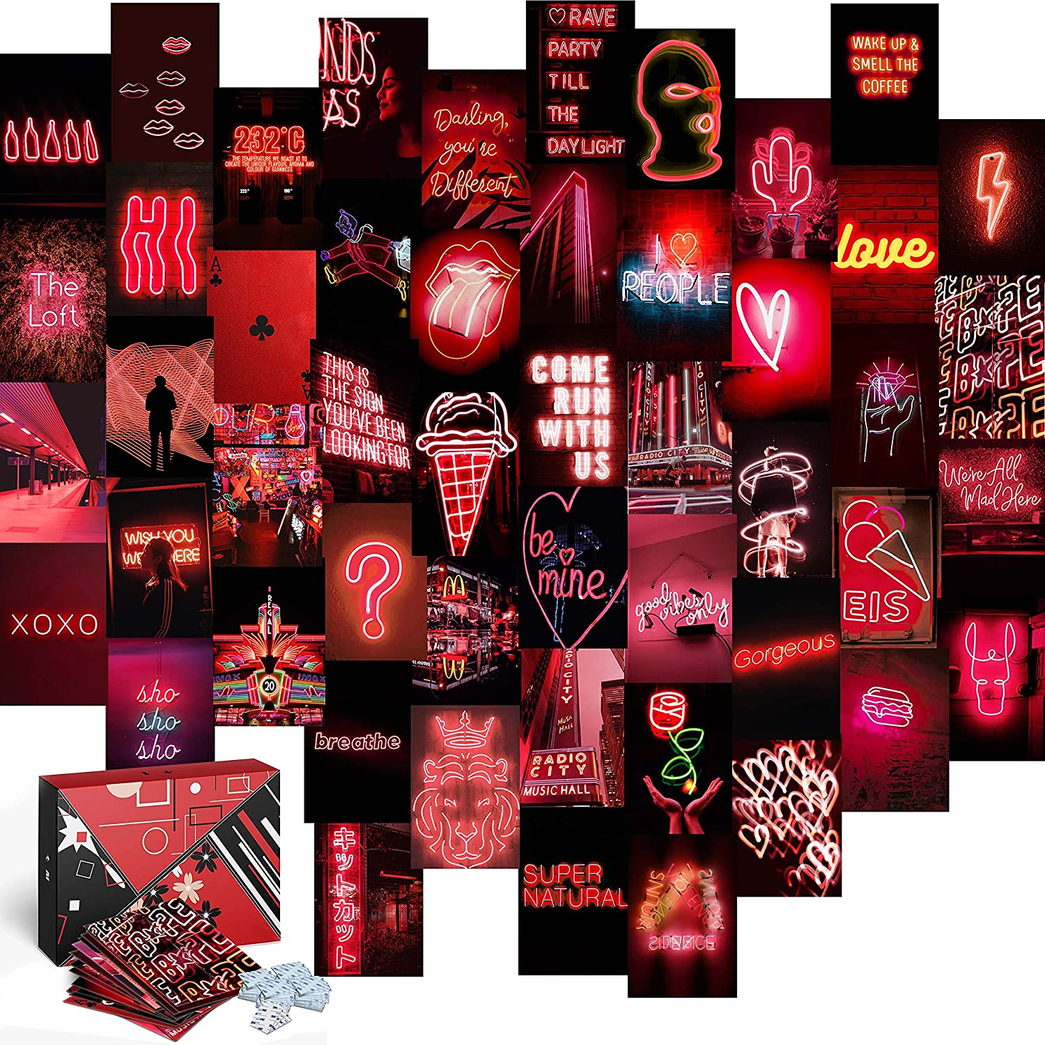 KOLL DECOR Red Aesthetic Room Decor Wall Collage Aesthetic - 50 Set 4''x6'' Prints Neon Dark Red photo Wall Collage Kit Decoration Pictures for Teen Girls Academia Bedroom Posters