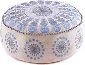 Mandala Life ART Bohemian Yoga Decor Pouf Ottoman - 24x8 inches - Stuffed with Premium Filler - Blue Round Meditation Pillow - Embroidery Cotton - Floor Cushion