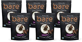 Bare Baked Crunchy Coconut Chips, Chocolate, Gluten Free, 2.8 Ounce Bag, 6 Count