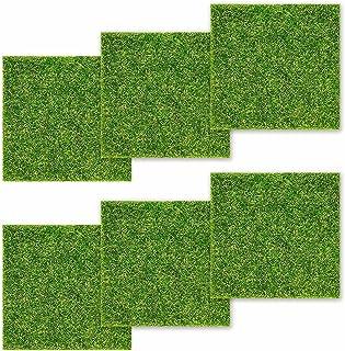 otutun Tapis de Pelouse Verte Artificielle, 6 Pièces Pelouses Artificielles Miniatures Paysage Décoration Plante Artificie...
