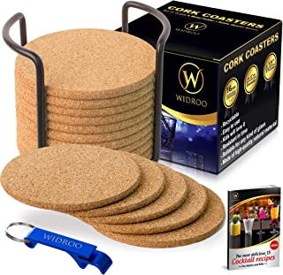 Cork Coasters Round for Drinks with Holder – Premium Set 16 pcs 4