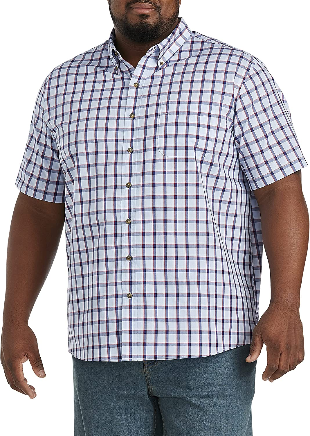 Harbor Bay by DXL Big and Tall Easy-Care Medium Stripe Sport Shirt, Red