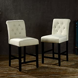 LSSBOUGHT Set of 2 Button-Tufted Fabric Barstools Dining High Counter Height Side Chairs (Seat Height: 24 inches, Beige)