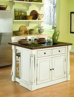 Monarch White Kitchen Island with Granite Top & 2 Stools by Home Styles
