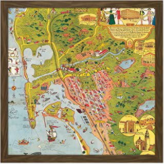 Map Mora 1928 City San Diego California Pictorial Square Wooden Framed Wall Art Print Picture 16X16 Inch 地図シティカリフォルニア木材壁画像