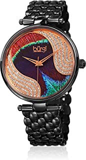 Burgi Women's BUR162BK Genuine Swarovski Crystal Peacock Feather Pattern Dial Black Stainless Steel Bracelet Watch
