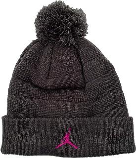 Nike Air Jordan Unisex Jumpman Knit Winter Cuffed Pom Beanie Ski Cap Hat, Anthracite Wolf Grey/Pink, 8/20