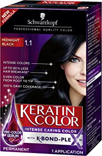 Schwarzkopf Keratin Color Permanent Hair Color Cream, 1.1 Midnight Black (Packaging May Vary), Pack of 1