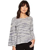 Long Sleeve Novelty Space Dye Sweater with Slit Neckband