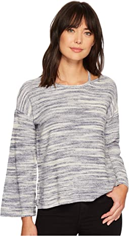 Long Sleeve Novelty Space Dye Sweater with Slit Neckband