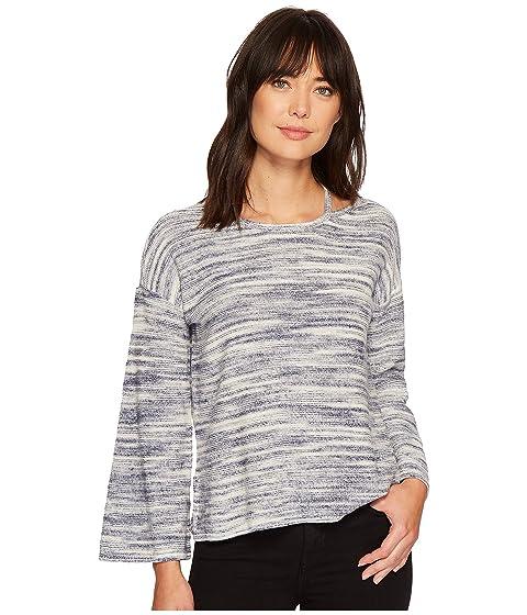 Long Sleeve Novelty Space Dye Sweater With Slit Neckband, Twilight Sky