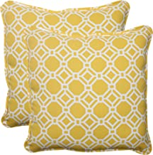 Pillow Perfect Outdoor Rossmere Corded Throw Pillow, 18.5-Inch, Yellow, Set of 2