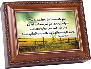 Cottage Garden Do Not Fear for I Am with You Woodgrain Jewelry Music Box Plays Amazing Grace