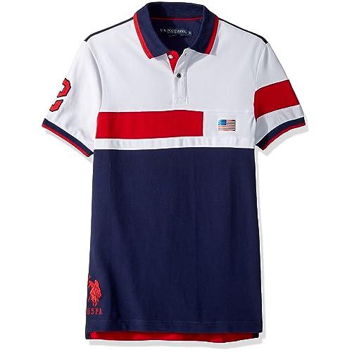 U.S. Polo Assn. Mens Short Sleeve Slim Fit Solid Pique Polo Shirt