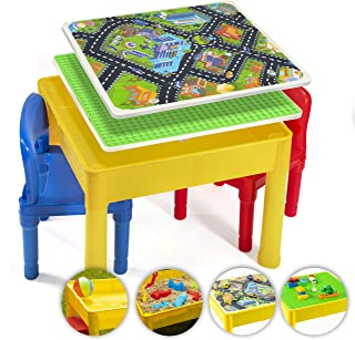 Prextex Kids 5 in 1 Store and Play Craft, Bricks, Water & Car Roads, Activity Play Table Set with 2 Chairs