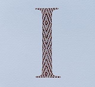 WHITE COTTON CARDS AZ-I Initial I Printed Fabric/Varnished Letter Alphabetic Card