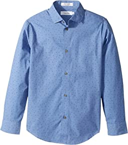 Calvin Klein Kids - Traingle Print Long Sleeve Stretch Shirt (Big Kids)