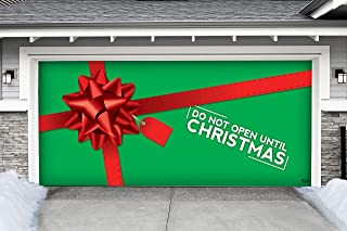 Victory Corps Outdoor Christmas Holiday Garage Door Banner Cover Mural Décoration - Don't Open Until Outdoor Christmas Holiday Garage Door Banner Décor Sign 7'x16'