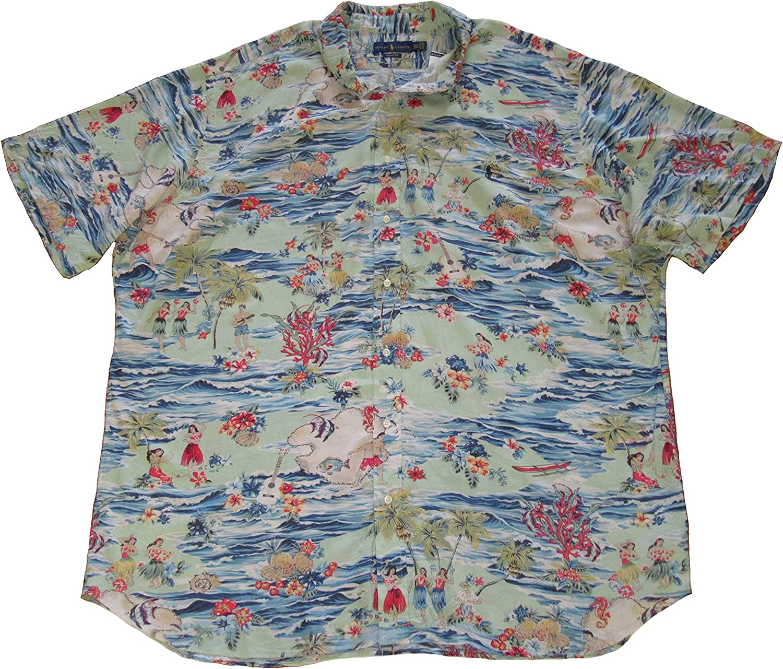 Ralph Lauren Polo Mens Big and Tall Button-Down Short Sleeve Hawaiian Shirt (2XLT, Blue)