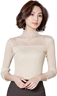 Ababalaya Women's Sexy Retro Turtleneck Glitter Sheer Lace Long Sleeve Blouse Top Clubwear