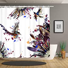 Stacy Fay Shower Curtain Hummingbird Art with Lily Floral Birds and Color Splashes Watercolor Painting Style, Cloth Fabric Bathroom Decor Set with Hooks, 70.8