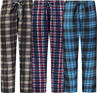 Mens Pajama Pants 3 Pack Fleece Lounge Pants Sleep Pants...