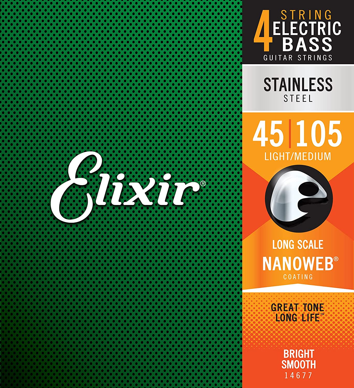 Elixir エリクサー ベース弦 NANOWEB ステンレス Long Scale Light/Medium .045-.105#14677