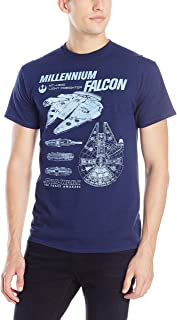 Star Wars Men's The Force Awakens Millennium Falcon Flies Schematic T-Shirt