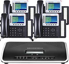 Business Phone System by Grandstream Ultimate Pack: Including Auto Attendant, Voicemail, Cell & Remote Phone Extensions, Call Recording & Free Telco Depot Dialtone 1 Year (4 Phone Bundle)