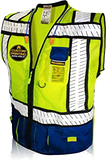 KwikSafety (Charlotte, NC) SHERIFF (Multi-Use Pockets) Class 2 ANSI High Visibility Reflective Safety Vest Heavy Duty Solid/Mesh and with zipper HiVis Construction Surveyor Work Mens Blue LARGE