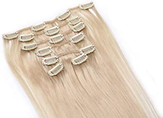 Simpleyourstyle 26inch 120g 7pcs 1set Clip in Straight Remy 100% Human Hair Extensions Clip in Bleach Blonde #613