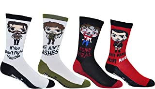 The Walking Dead Socks (4 Pair) - (1 Size) Rick Grimes, Daryl Dixon, Walker, Negan Crew Socks Women & Men's