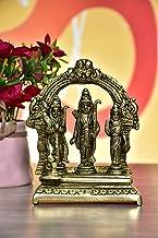 999Store Brass Idol Ram Darbar Lord Rama Laxman Sita Religious (Brass_5 x 5 Inch _Golden_ 0.96 kg ) Brass012
