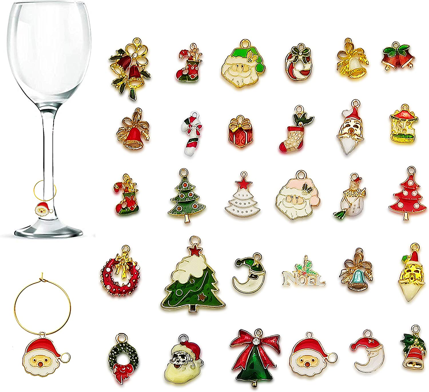 Wine Glass Charms New At the price color CNYMANY Zinc Alloy Christmas Goblet Themed Dr