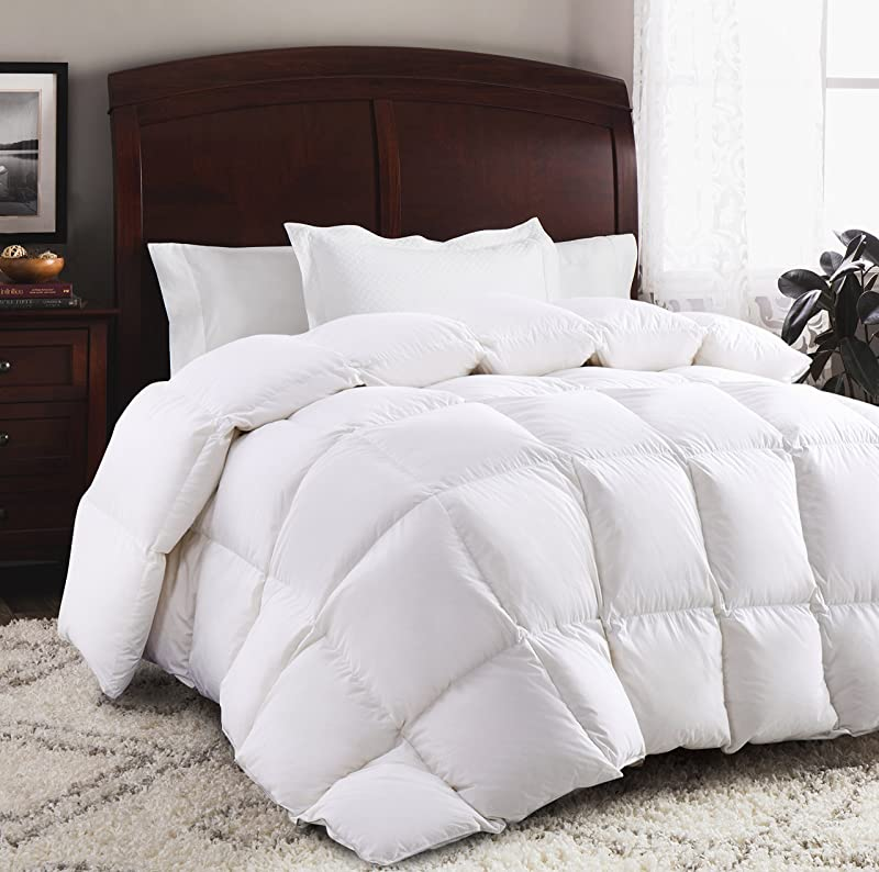 ROSECOSE Luxurious Goose Down Comforter King Size Duvet Insert All Seasons Solid White Hypo Allergenic 1200 Thread Count 750 Fill Power 100 Cotton Shell Down Proof With Tabs King White