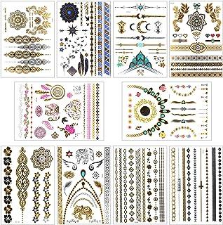 Siumir Tatuajes Temporales Metalicos 10 Hojas Impermeable Joyería Tatuajes Tattoo Cuerpo Pegatinas