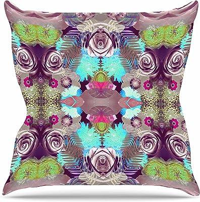 Kess InHouse Art Love Passion Blue Flower Field Beige Blue Throw Pillow 18 by 18